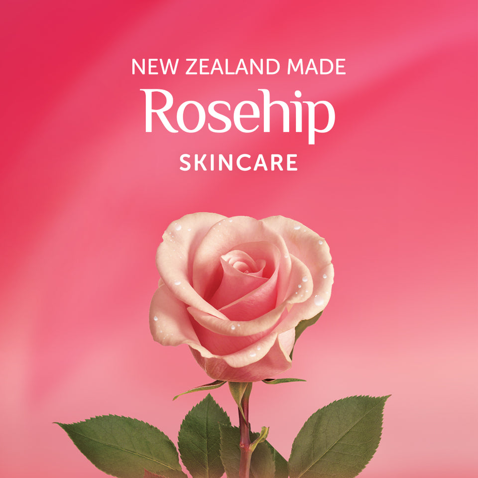 Alpine Silk | Rose-hip skincare banner with rose. NZ made.