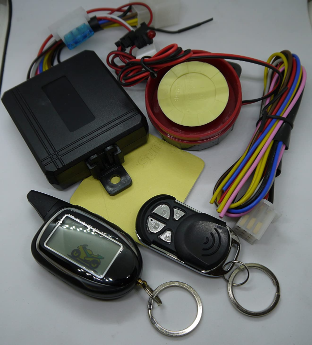 Sykik Rider SRT208 2-Way Motorcycle Alarm with LCD Pager, Remote Start and Sensors