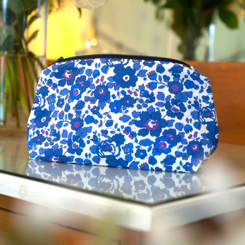 Liberty Print Fabric Betsy Make Up Bag (Deep Blue)