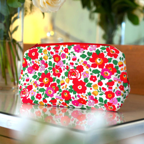 Liberty Print Fabric Betsy Make Up Bag (Red)