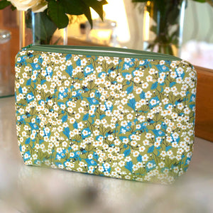 Liberty Print Fabric Mitsi Wash Bag (Green)