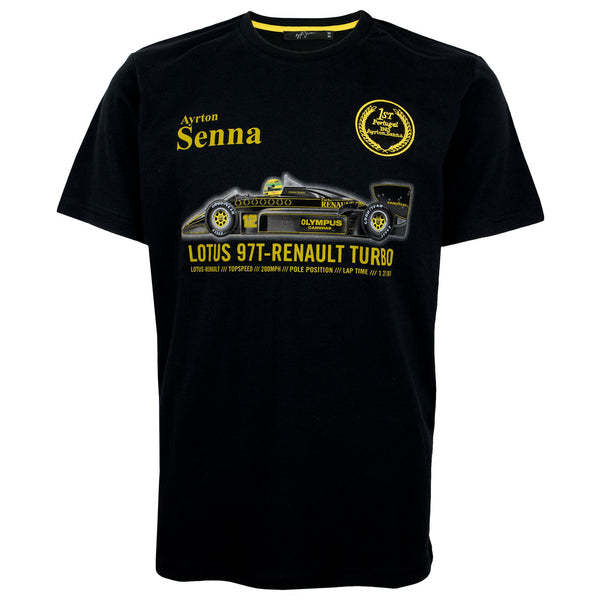 T-shirt Ayrton Senna prima vittoria in Portogallo  1985 Estoril