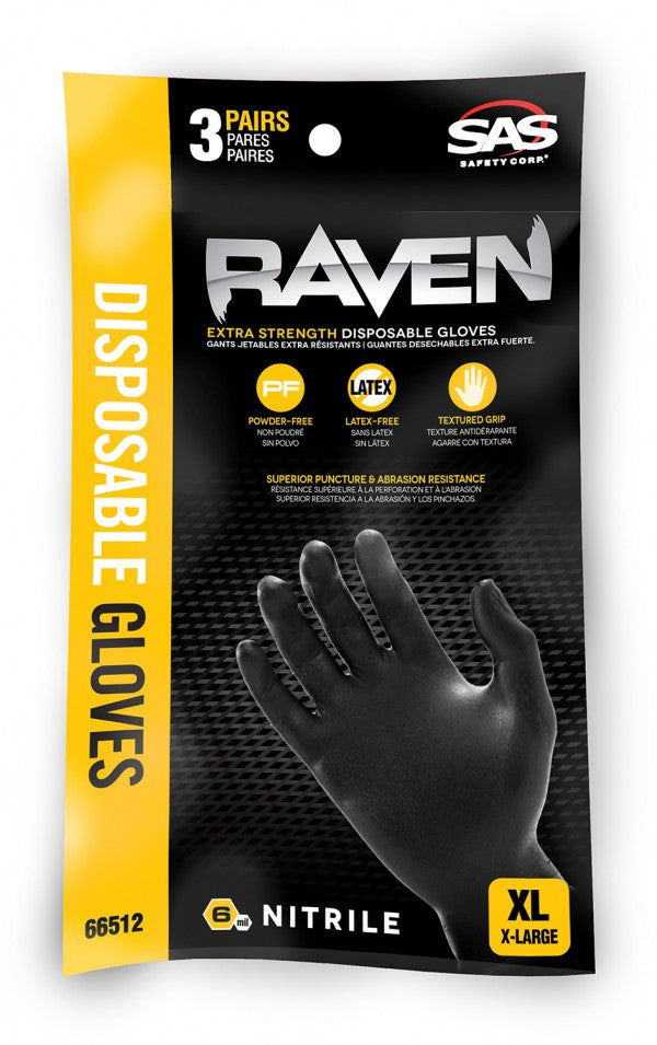 Raven Powder Free Nitrile Black Gloves - 3 Pack