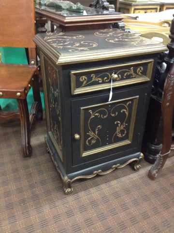 Black Night Stand with Gold Scrolls