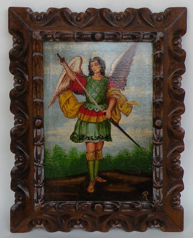 Archangel Adriel, hand painted, wooden frame