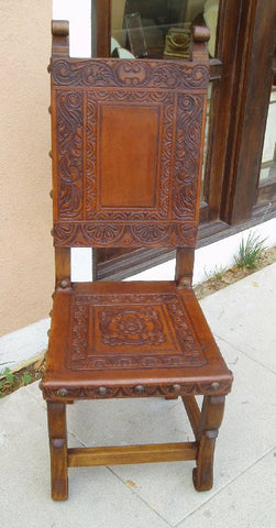 Spanish Colonial side chair with Ayacucho design hand tooled in leather - Made in Peru