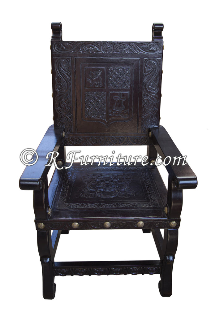 Spanish Colonial Armchair With Ayacucho Design Hand Tooled In Leather    Made In Peru