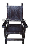 Spanish Colonial Armchair with Ayacucho design hand tooled in leather - Made in Peru