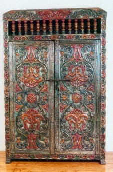 Ayacucho Armoire, hand tooled leather armoire