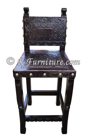 Spanish Colonial Bar Chair with Ayacucho design hand tooled in leather - Made in Peru
