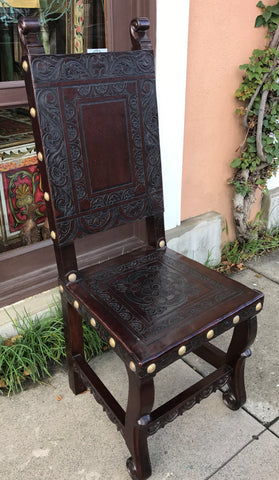 Ayacucho Side Chair, Spanish Colonial design, Dark Walnut