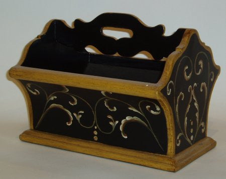 Letter Holder, Black with Scrolls