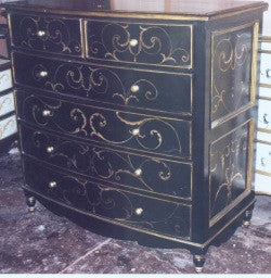 Dresser, Black with Scrolls