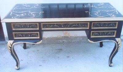 Black Desk with Gold Scrolls