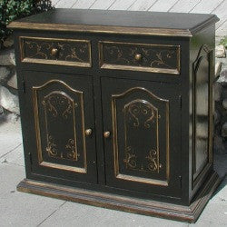 Buffet, Black with Scrolls