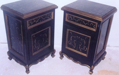 Black Nightstand with Gold Scrolls