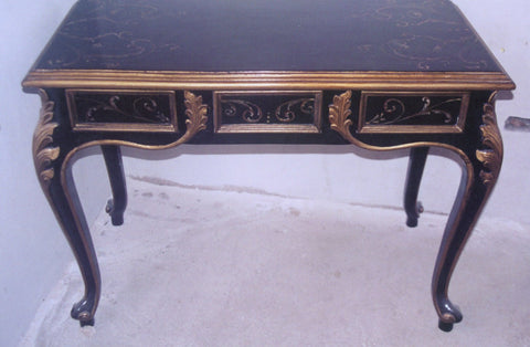 Black Vanity Desk with Gold Scrolls - Hand Painted in Peru