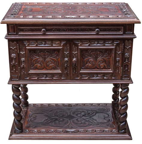Bologna Nightstand, hand tooled leather