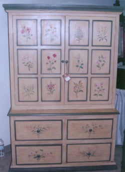Botanical China Cabinet, hand Painted