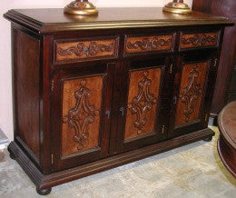 Old Spanish Buffet, hand tooled leather, Colonial design