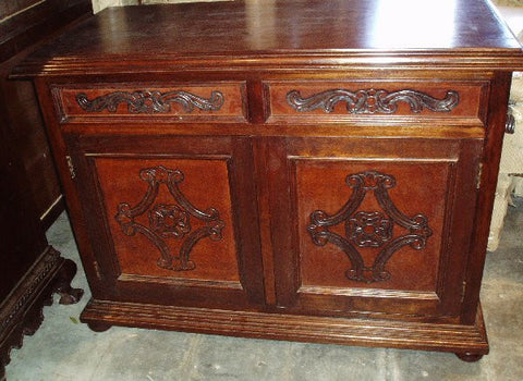Leather Colonial Media Cabinet