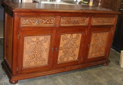 Old World Buffet, hand tooled leather panels