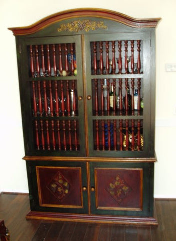 Old World Tuscan China Cabinet, Hand tooled leather cabinet in polychrome finish