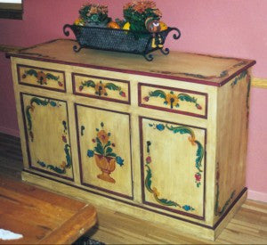 Handpainted buffet and Olinda Romani's Monterey design