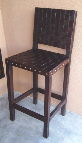 criss cross leather bar chair made in Peru