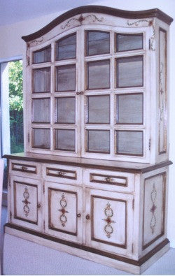 Hand Painted Colonial China Cabinet