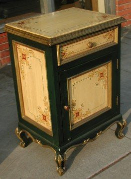 hand painted nightstand in Olinda Romani's Spanish colonial to sign made in Peru