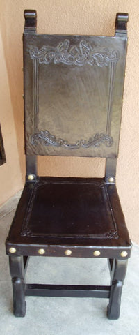 Spanish Colonial Scrolls Dining Leather Side Chair