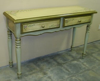 hand painted consul in Olinda Romani's roses and sage green design made in Peru