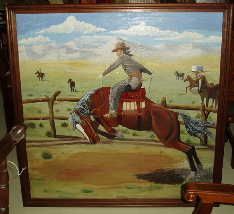 Handpainted scenery with buckin' bronco made in Peru