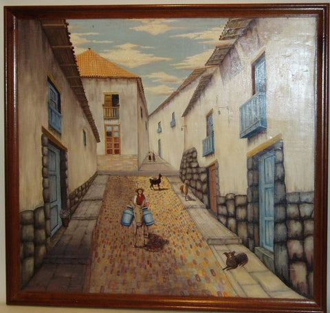 hand painted Cusco street scene