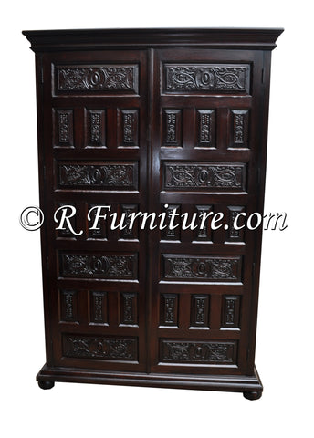 Cuzco Armoire, carved wooden panels