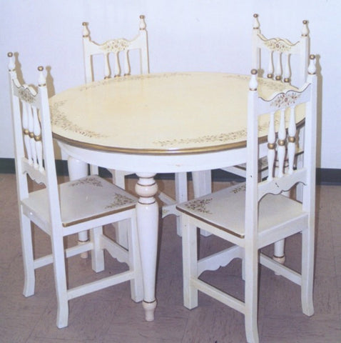 Hand Painted Kitchen Table, Antique White with Daisies