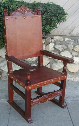 Spanish Friar Leather Dining Armchair, chestnut