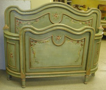 Hand Painted French Style bed in antique green