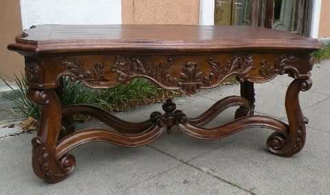 French Renaissance Coffee Table Wood Finish