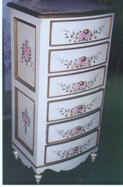 antique white bow lingerie chest with roses and ribbon