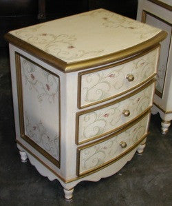 bow nightstand with the French scrolls