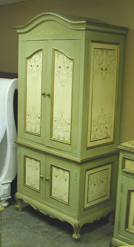 French Scroll Sage Armoire
