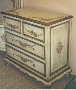 hand painted chest in antique white with roses and ribbin