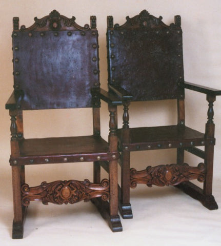 Spanish friar armchair hand carved wood Hearst Castle style chair
