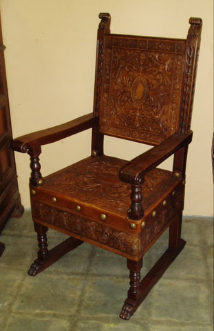 hand tooled leather, renaissance armchair