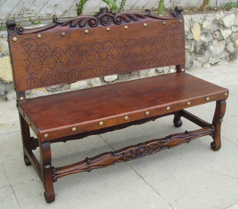 hand tooled leather spanish bench