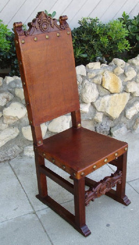 Spanish Friar Dining Leather Side Chair, chestnut