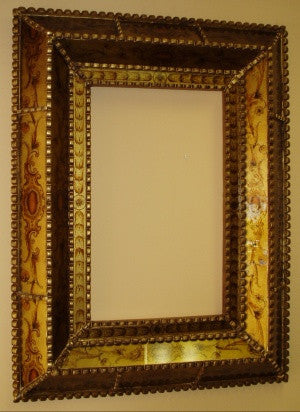 reverse painted glass mirror Cusco style frame