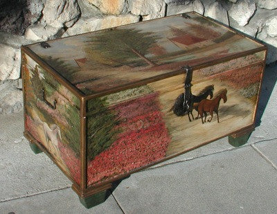 Painted Trunk with Horse Scenery